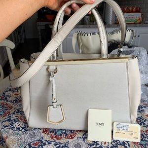 Authentic Fendi Hand Bag 2JOURS White Leather